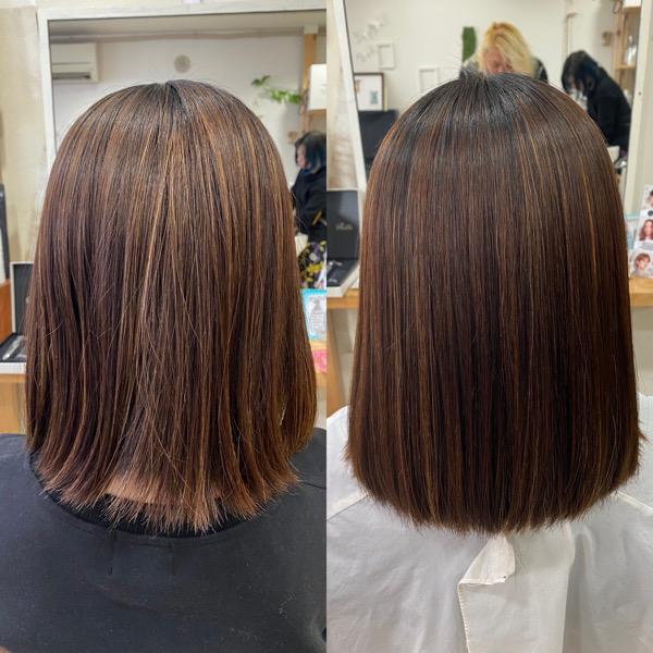ハイライトの入った髪の縮毛矯正。原宿・表参道『髪のお悩みを解決するヘアケア美容師の挑戦』