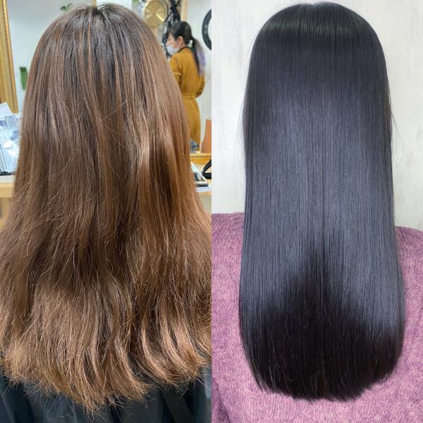 デジタルパーマがかかっている髪を縮毛矯正で艶髪ストレートヘアに。原宿・表参道『髪のお悩みを解決するヘアケア美容師の挑戦』