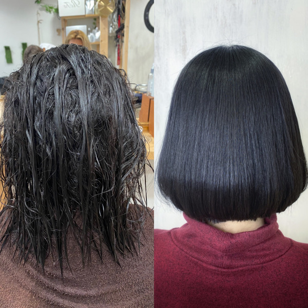 くせ毛で広がりが気になる方を【縮毛矯正とカット】まとまりのあるヘアスタイルに変身。原宿・表参道『髪のお悩みを解決するヘアケア美容師の挑戦』