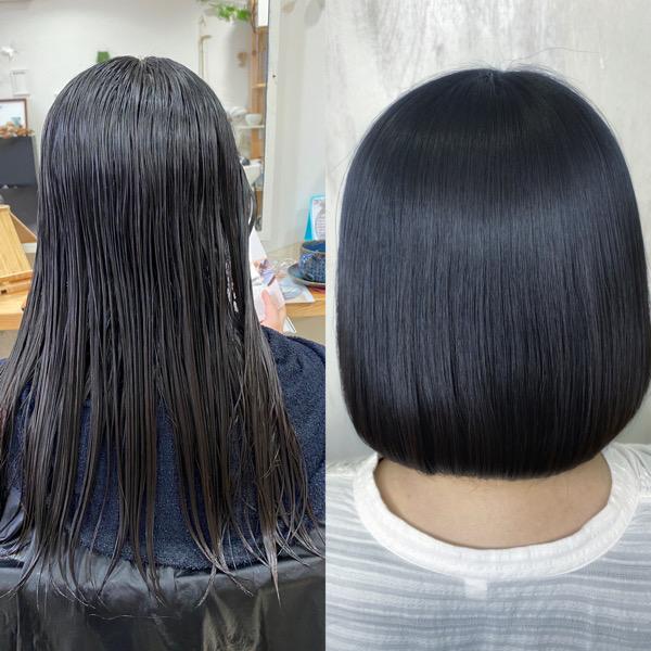 ばっさりカットとジュエリーシステム×縮毛矯正でまとまるボブ。原宿・表参道『髪のお悩みを解決するヘアケア美容師の挑戦』