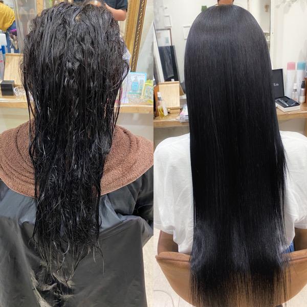 強めのくせ毛の方のジュエリーシステムシリーズ×縮毛矯正で艶髪ストレート。原宿・表参道『髪のお悩みを解決するヘアケア美容師の挑戦』