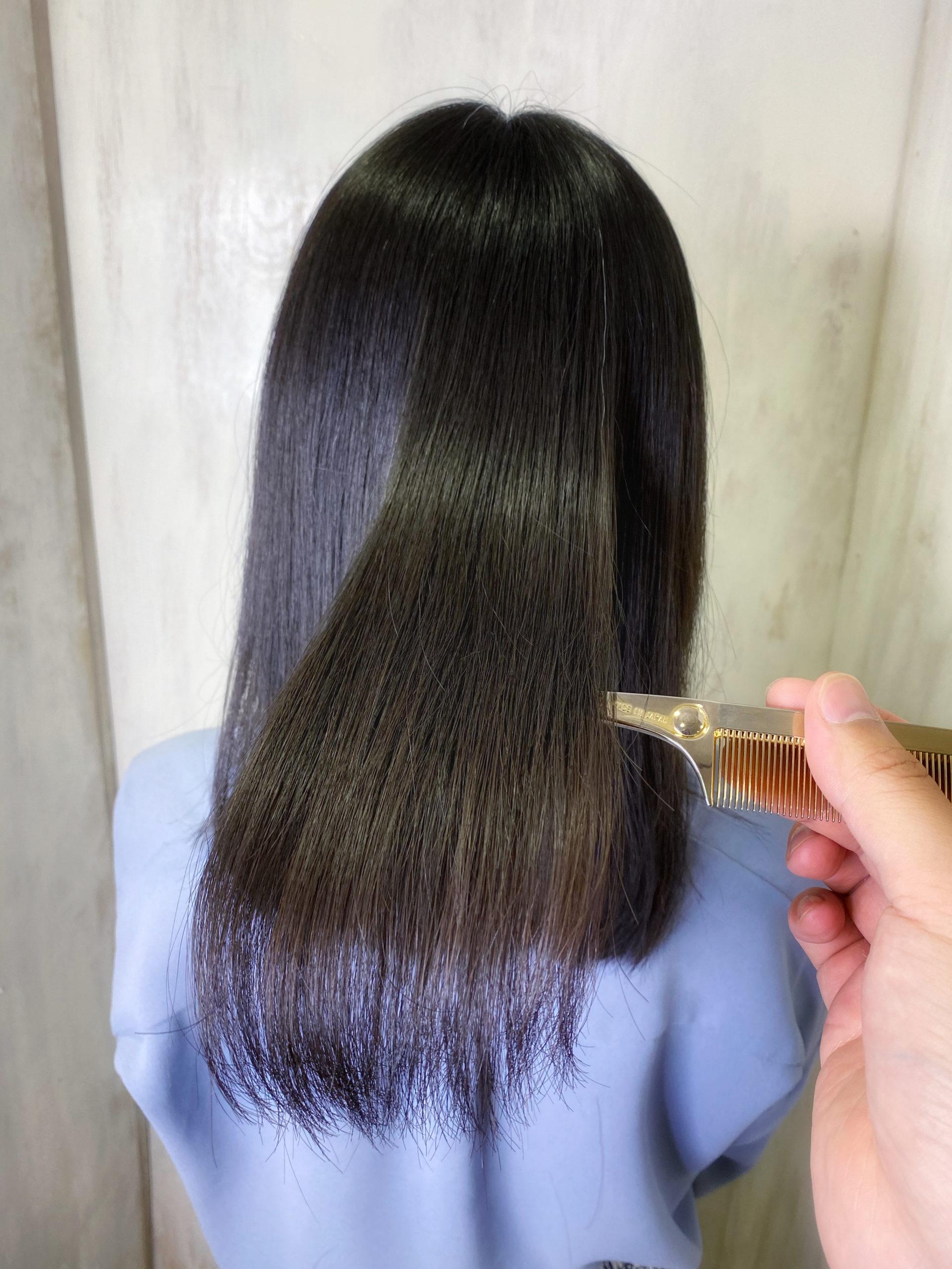 パーマで広がりが気になる方を【LULUトリートメント×縮毛矯正】でまとまる艶髪に変身。