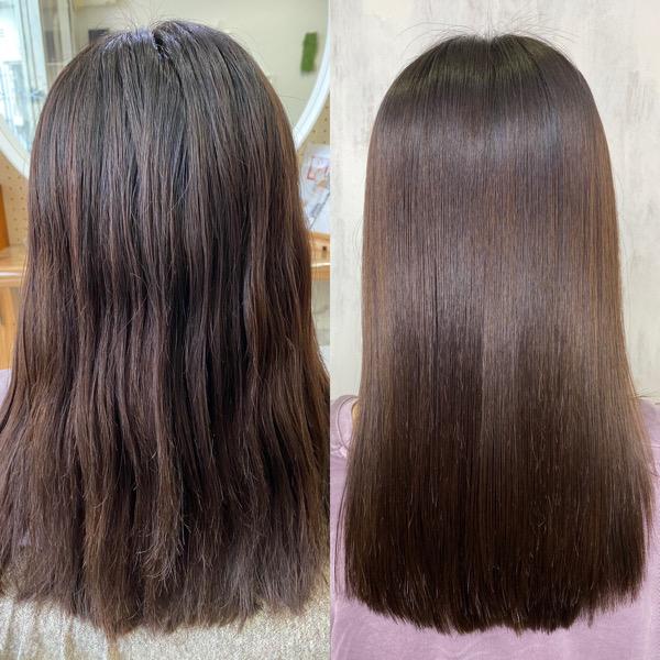 ブリーチを数回されている方に縮毛矯正で艶髪ストレートヘア。原宿・表参道『髪のお悩みを解決するヘアケア美容師の挑戦』