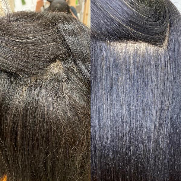強めのくせ毛をジュエリーシステムシリーズ×縮毛矯正で艶髪ストレートヘア。原宿・表参道『髪のお悩みを解決するヘアケア美容師の挑戦』