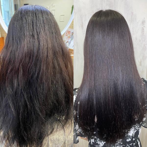 ブリーチとパーマをされている方をジュエリーシステムシリーズ×縮毛矯正で艶髪ストレートヘア。原宿・表参道『髪のお悩みを解決するヘアケア美容師の挑戦』