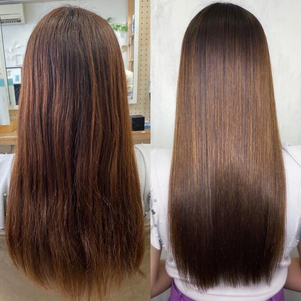 ハイライトカラーをしている方を縮毛矯正で艶髪ストレートヘア。原宿・表参道『髪のお悩みを解決するヘアケア美容師の挑戦』