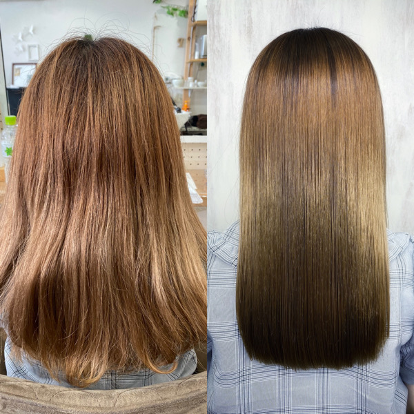 グラデーションカラーをしている方を縮毛矯正で艶髪。原宿・表参道『髪のお悩みを解決するヘアケア美容師の挑戦』