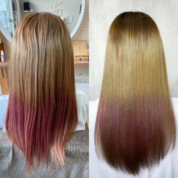 ブリーチと縮毛矯正をされている方を縮毛矯正で艶髪ストレートヘア。