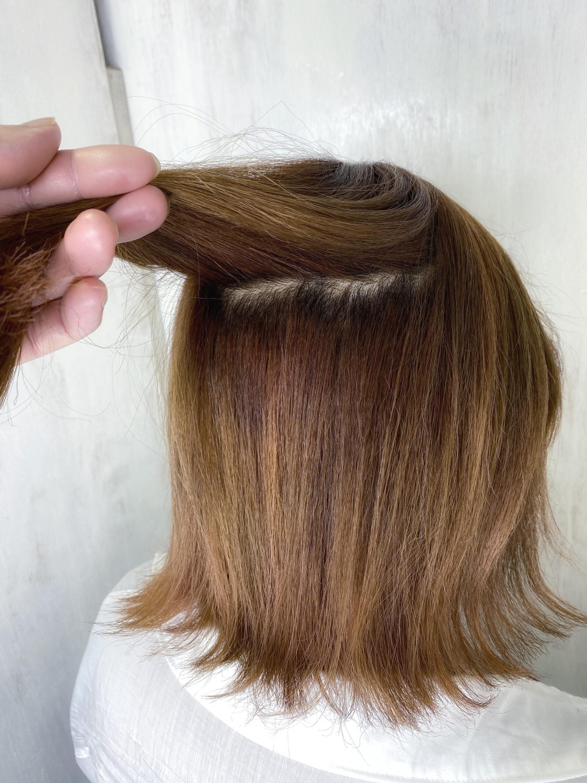 ブリーチを数回していて癖毛が強い方を縮毛矯正で艶髪ストレートヘア。