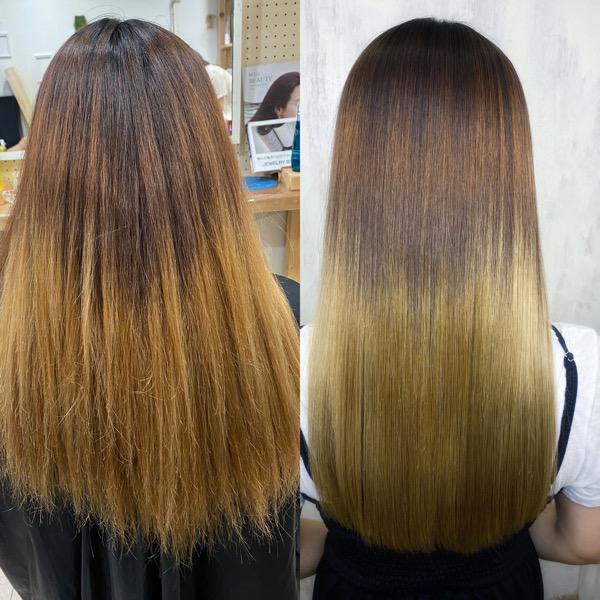 ブリーチでグラデーションカラーの方を縮毛矯正でつやっつやの艶髪ストレート。