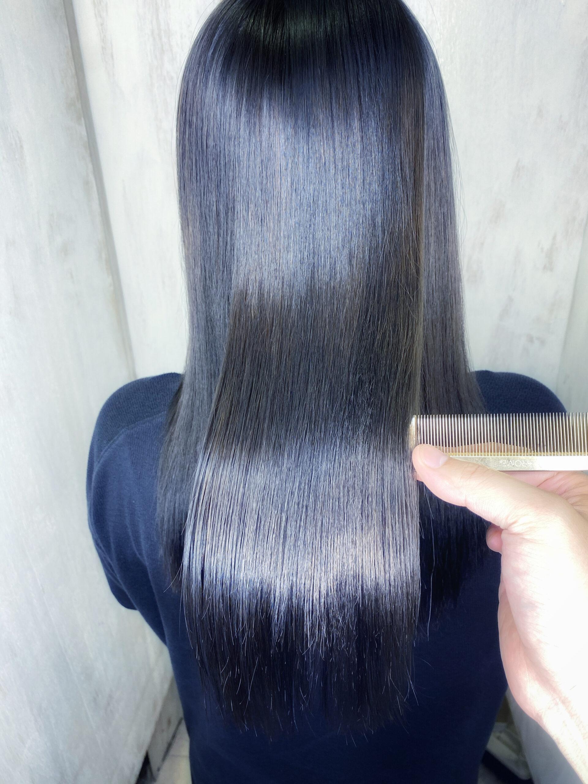 ブリーチ毛の方をジュエリーシステム×LULUトリートメント×縮毛矯正+オレオルカラーで艶髪ストレートヘア。