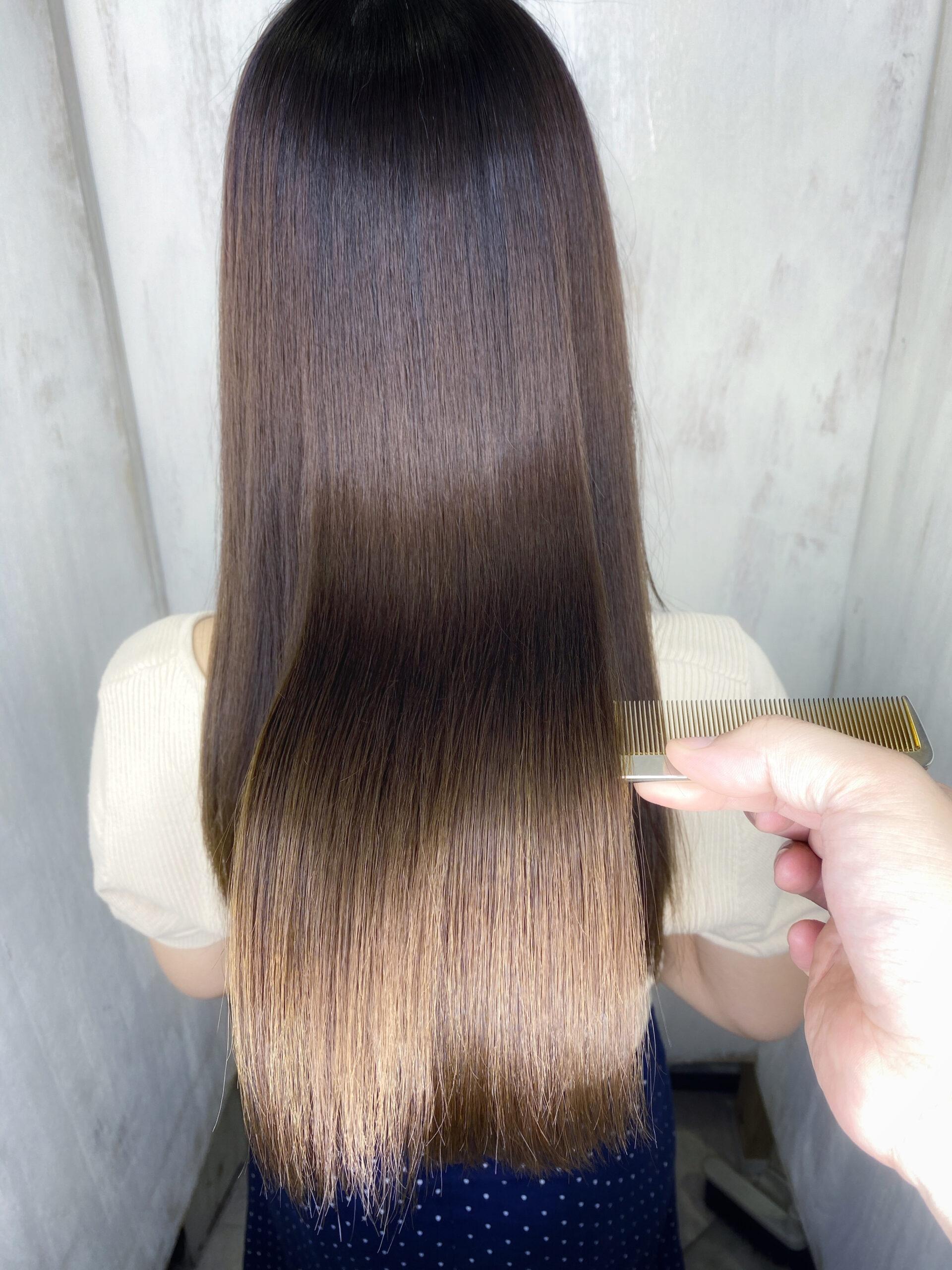 ジュエリーシステム×LULUトリートメント×縮毛矯正でブリーチと縮毛矯正の履歴がある方を艶髪ストレートに変身。