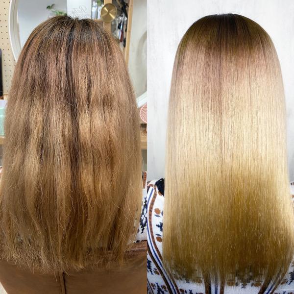 ブリーチ毛の方をジュエリーシステム×LULUトリートメント×縮毛矯正でつやっつや艶髪ストレートヘア