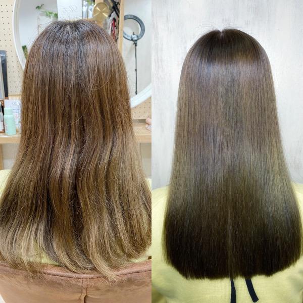 ブリーチを数回されている方をカット+ジュエリーシステム×LULUトリートメント×縮毛矯正+オレオルカラーで艶髪ストレートヘア。
